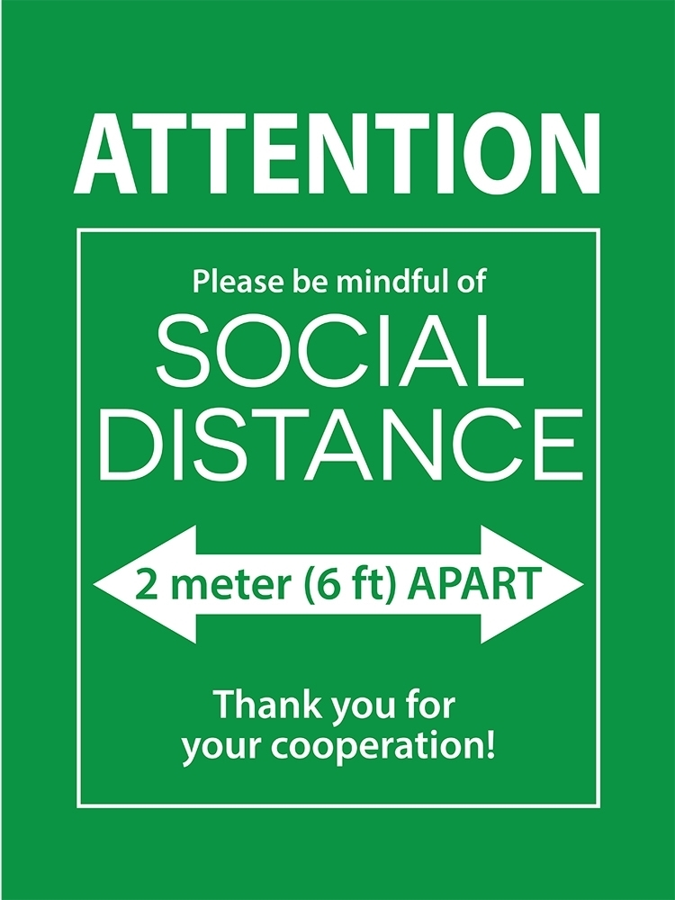 12X16 SOCIAL DISTANCE POSTER