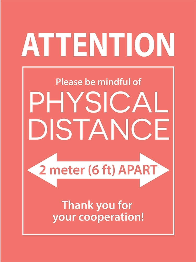 12X16 PHYSICAL DISTANCE POSTER