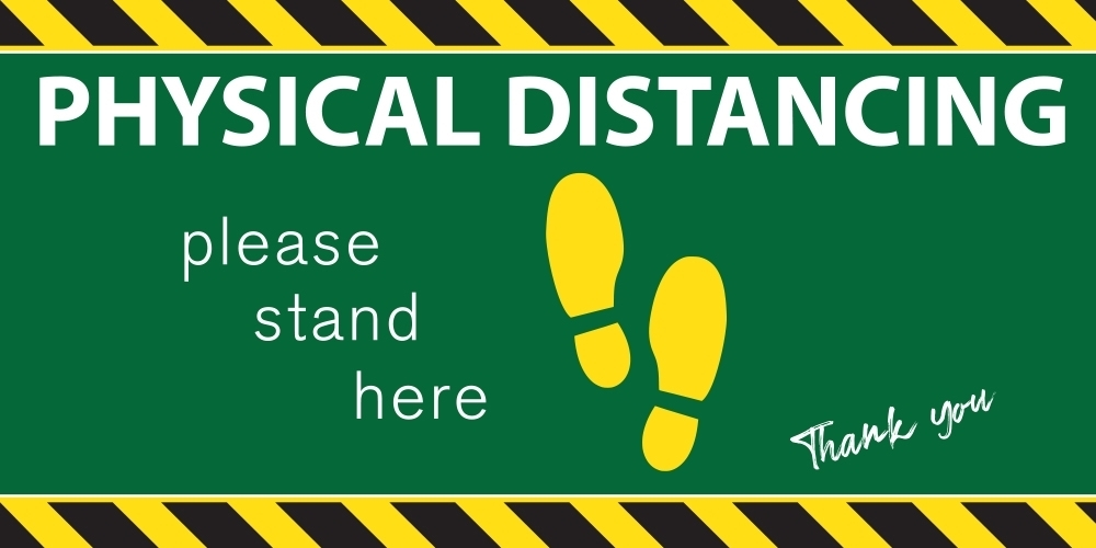 """18"""" X 9"""" PHYSICAL DISTANCING DECAL"""