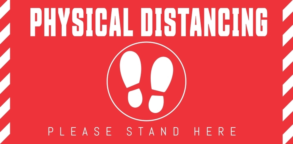 "12"" X 6"" PHYSICAL DISTANCING DECAL"